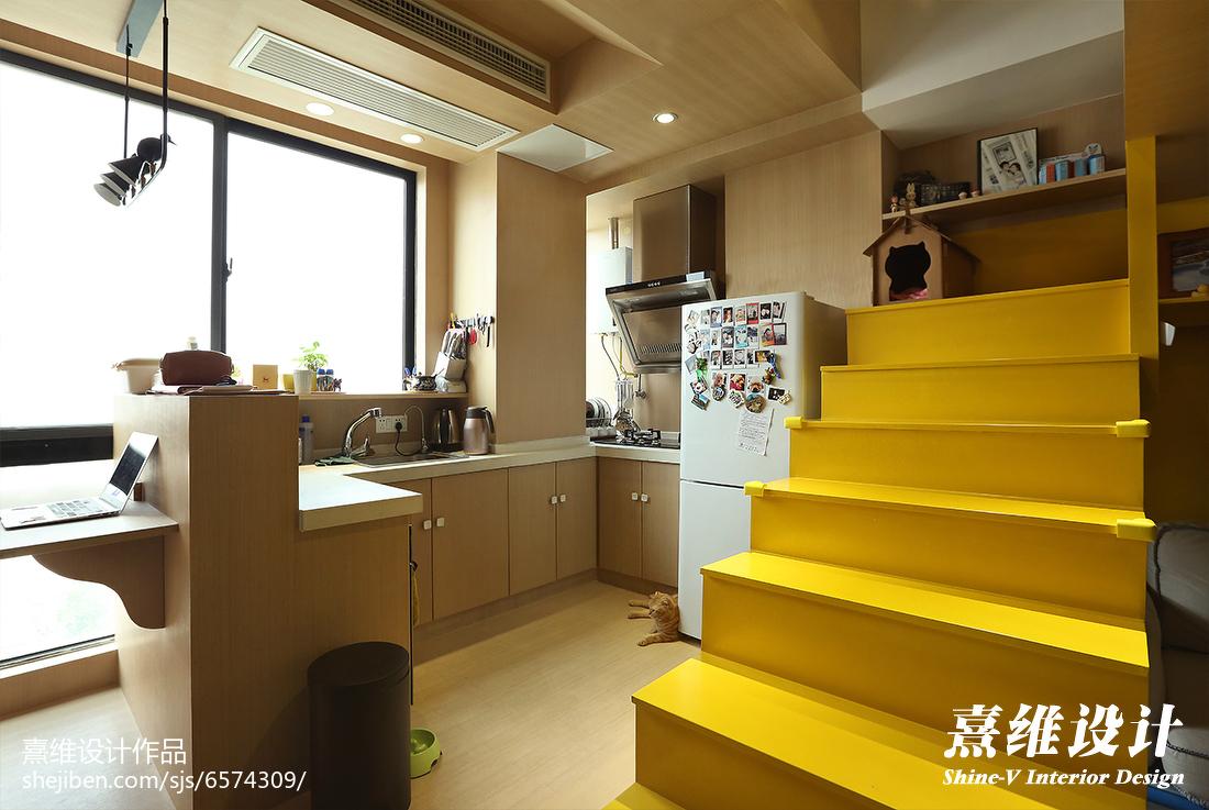 精美面积84平小户型厨房混搭装修欣赏图片