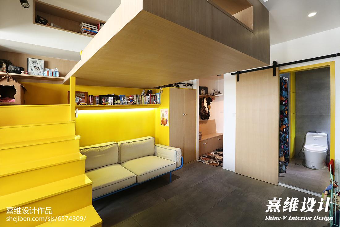 面积85平小户型客厅混搭实景图片