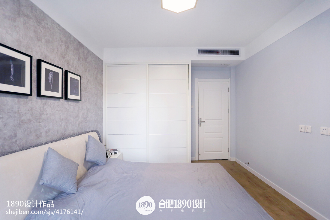 2018精选95平米三居卧室北欧装修实景图