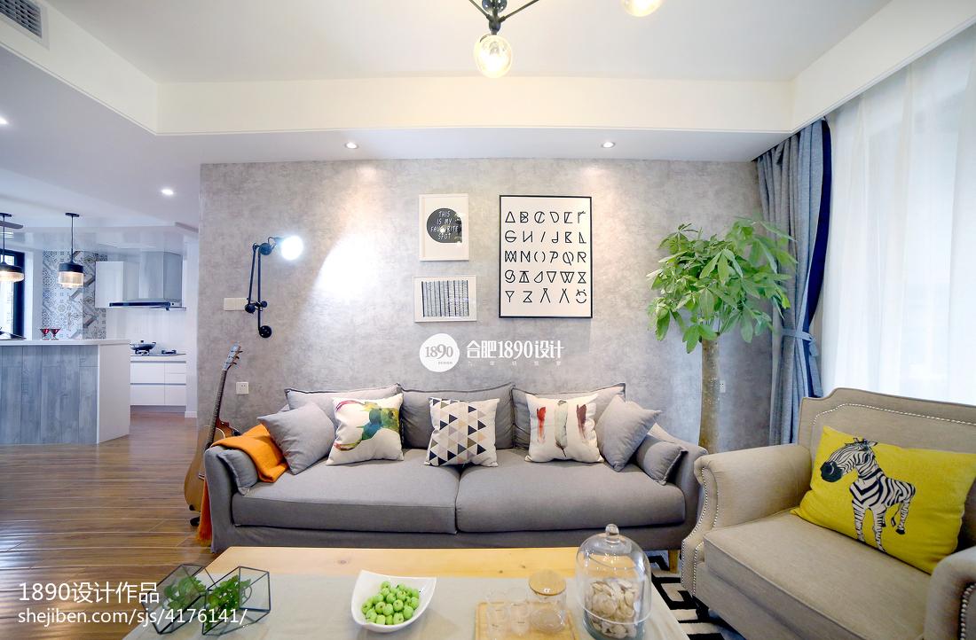 201892平米三居客厅北欧效果图片大全