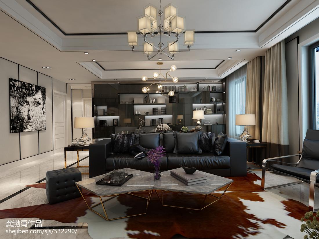 92平大小客厅三居现代装修设计效果图