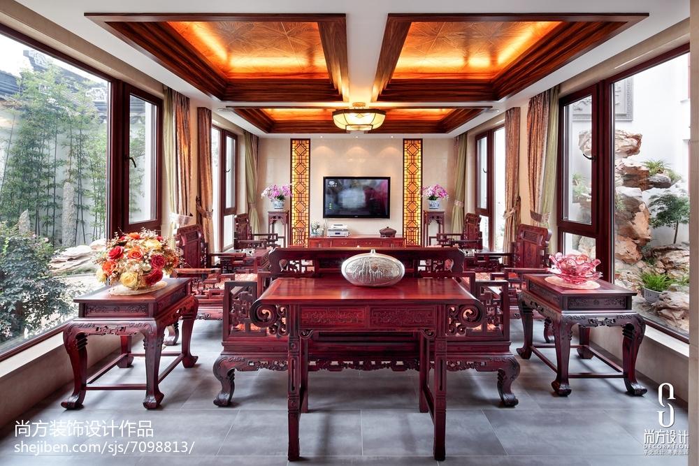2018精选面积133平别墅客厅中式装修图片欣赏