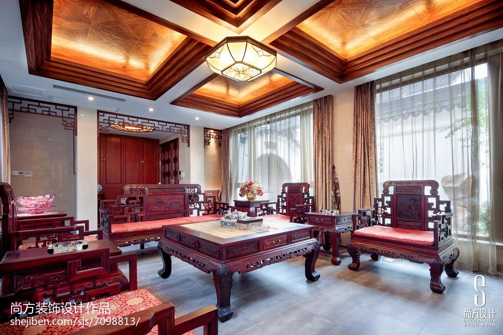 精美面积125平别墅客厅中式装饰图片欣赏