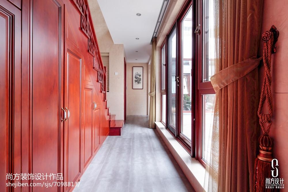 面积142平别墅过道中式装修图