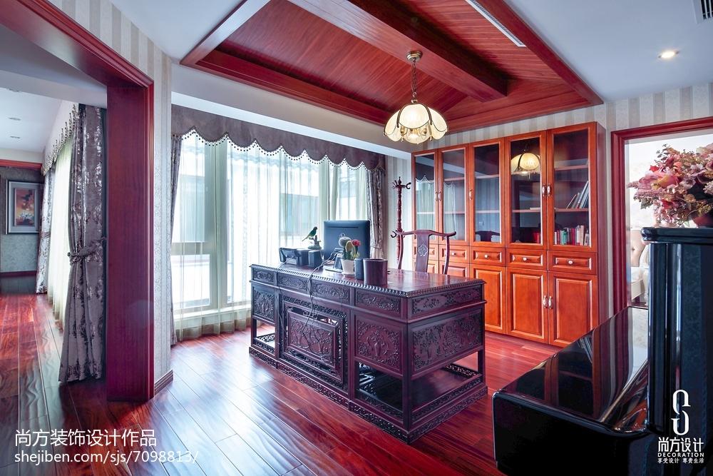 热门面积126平别墅书房中式装修效果图