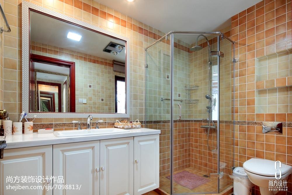 2018面积121平别墅卫生间中式装修实景图片