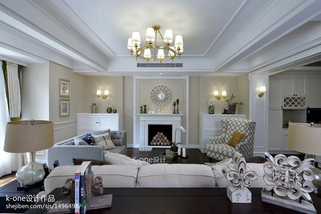 136平米美式别墅客厅装修图片欣赏