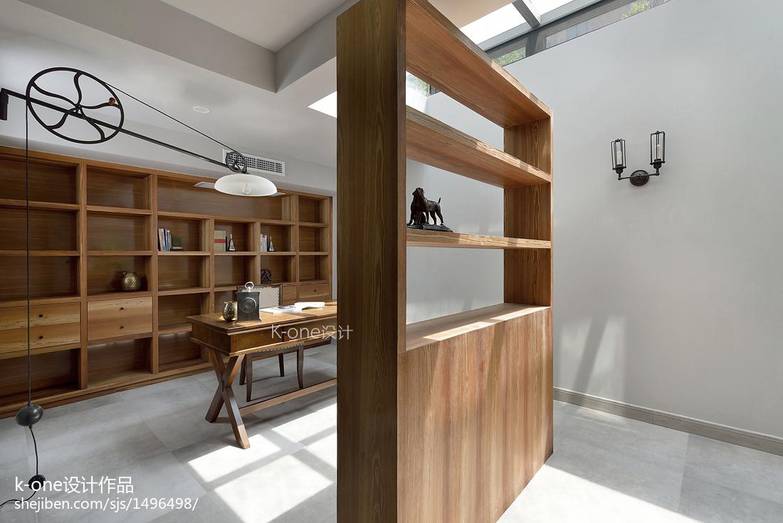 2018119平米美式别墅书房装修设计效果图片欣赏