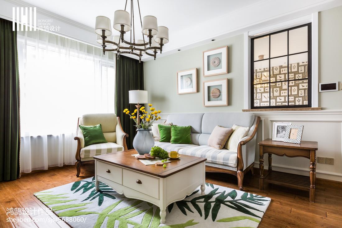 2018精选109平方三居客厅美式装修实景图片