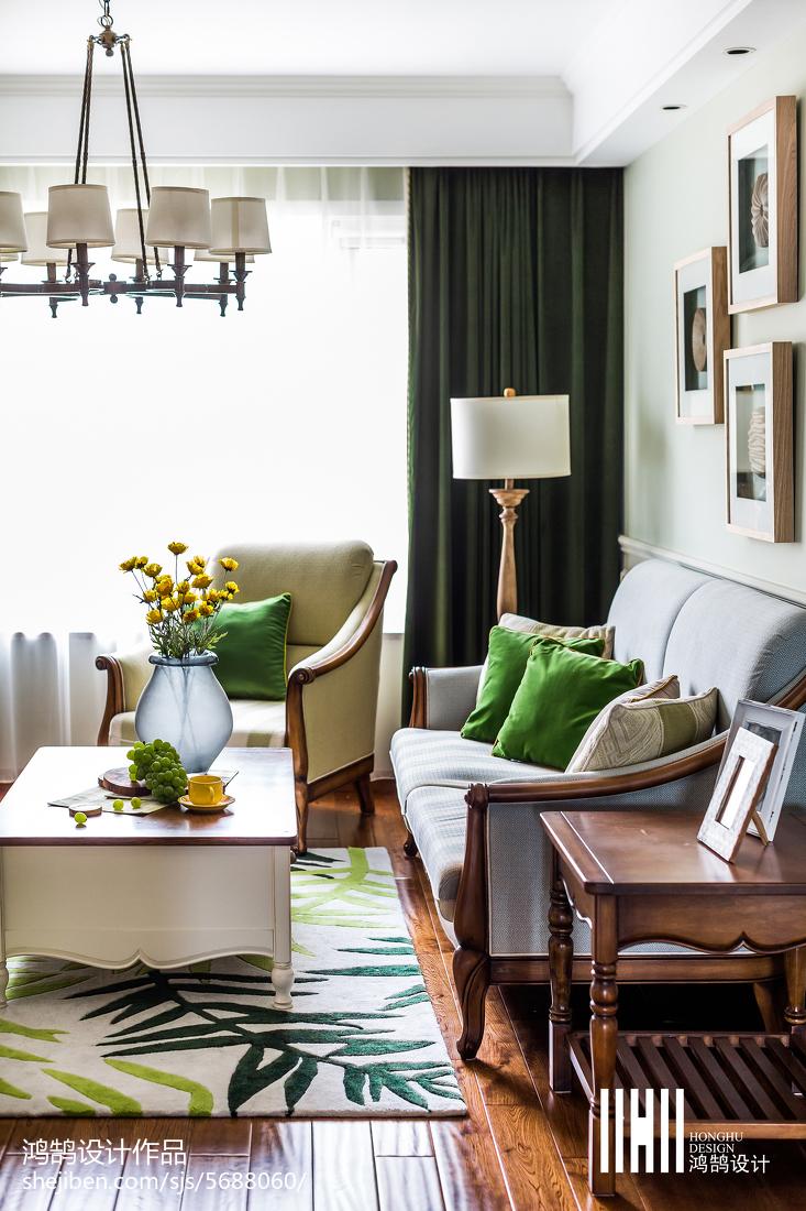2018精选105平米三居客厅美式实景图片