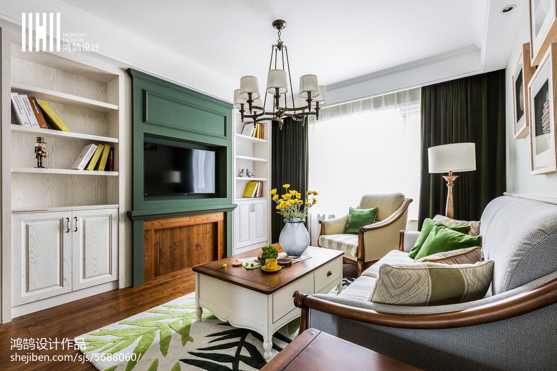 2018精选面积91平美式三居客厅装饰图片大全