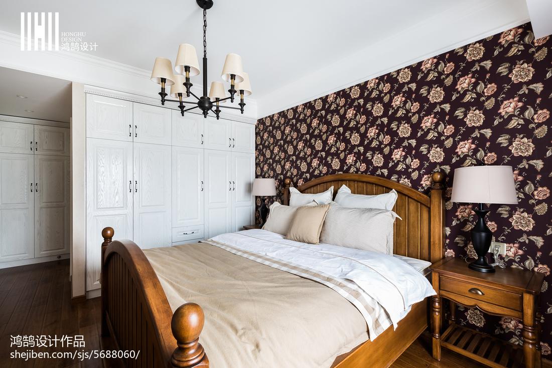精选面积92平美式三居卧室欣赏图片