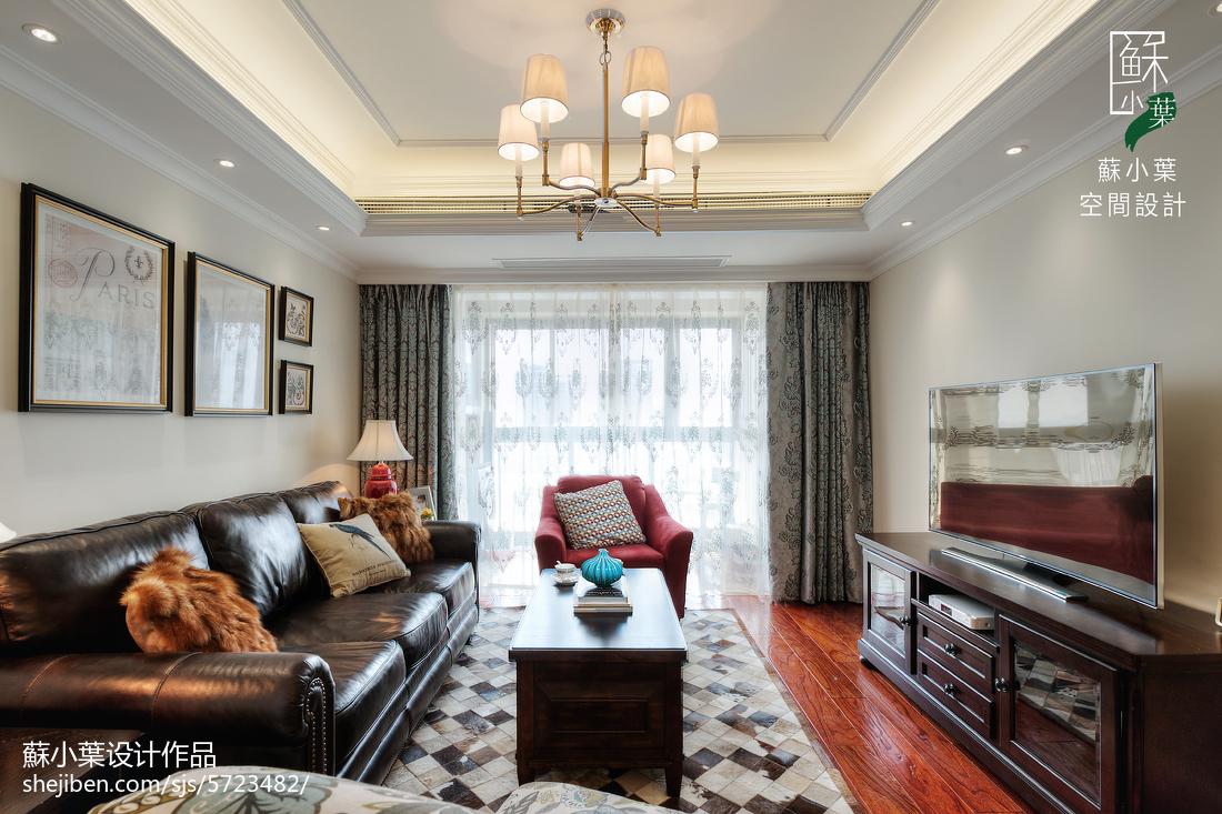面积88平美式二居客厅装修设计效果图片大全