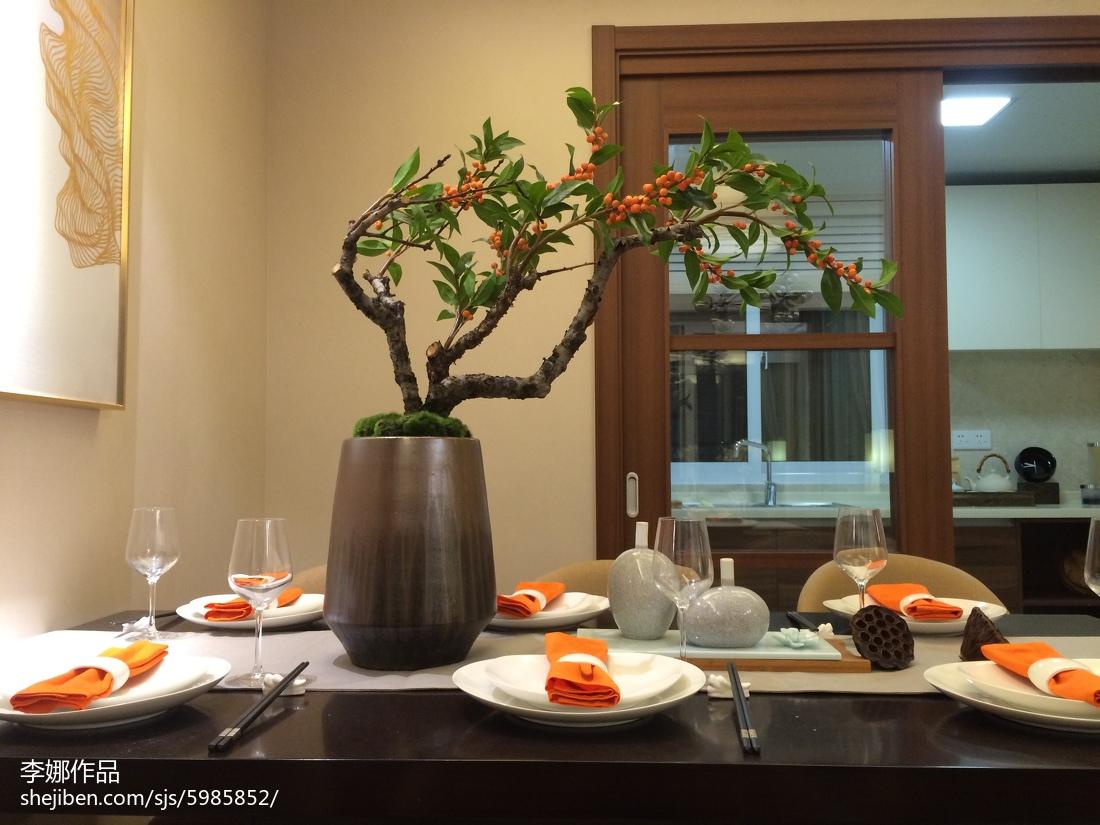 2018面积93平中式三居餐厅装修实景图片欣赏