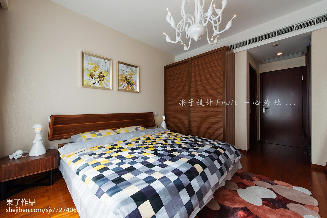 中式时尚风卧室效果图设计