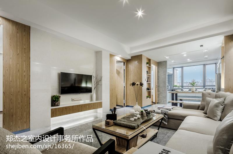 面积74平现代二居客厅实景图片大全