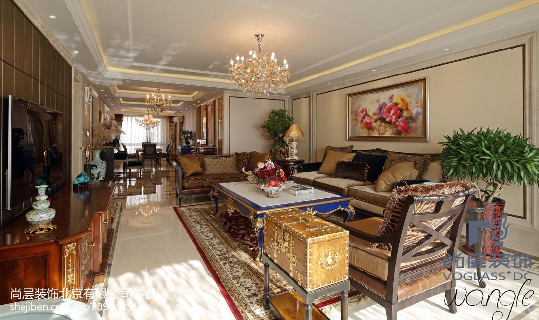 面积117平新古典四居客厅装饰图片