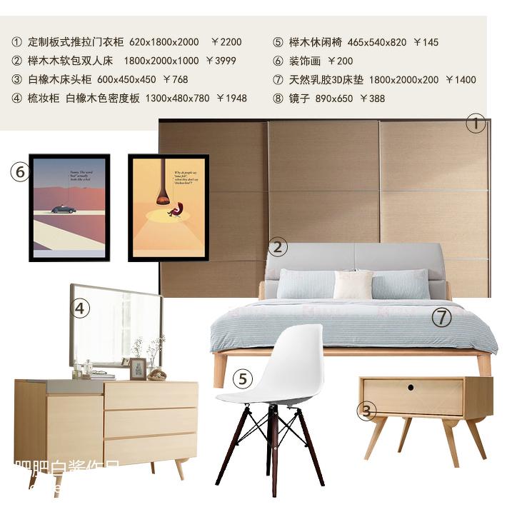 精美87平米二居卧室北欧装修设计效果图片欣赏