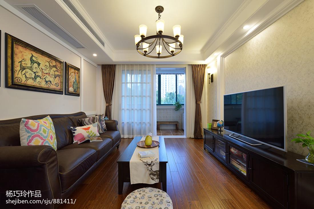 精选74平米二居客厅美式实景图片大全