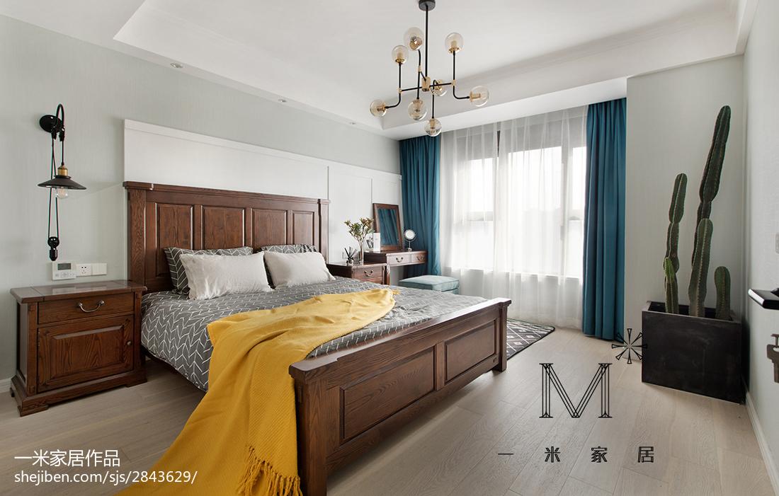 热门面积99平美式三居卧室装修实景图