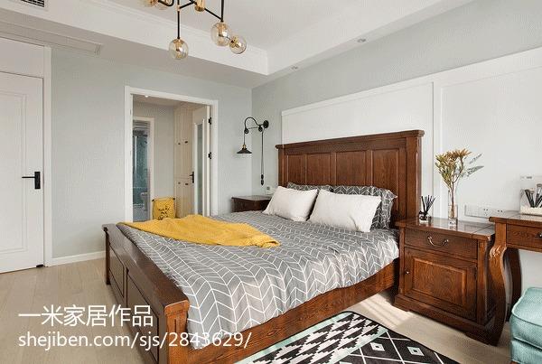 轻奢109平美式三居卧室效果图片大全