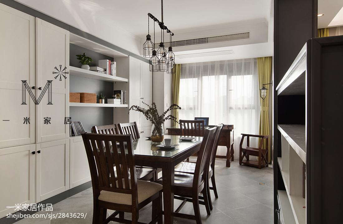 热门面积107平美式三居餐厅欣赏图片