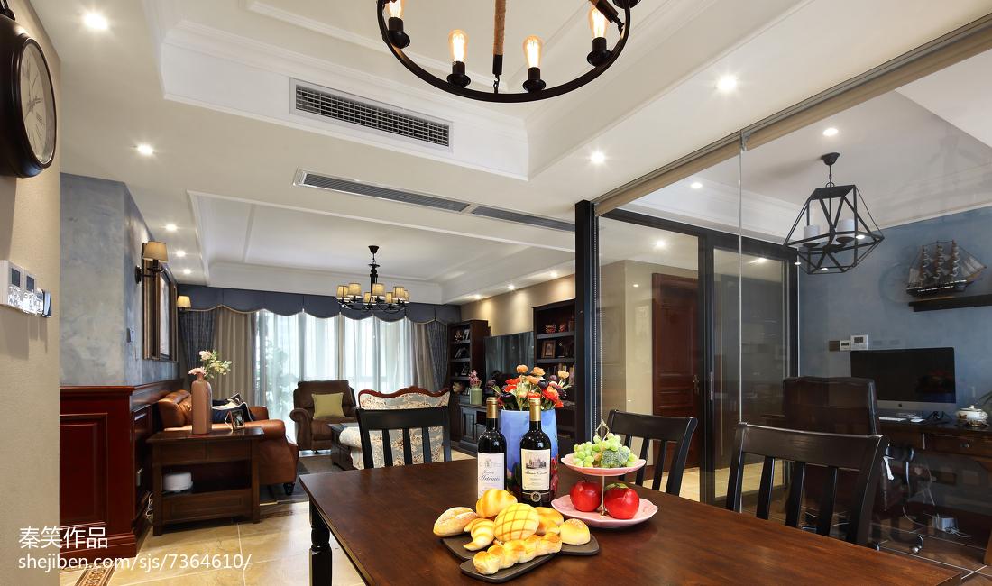 精选面积111平美式四居餐厅装修图片大全