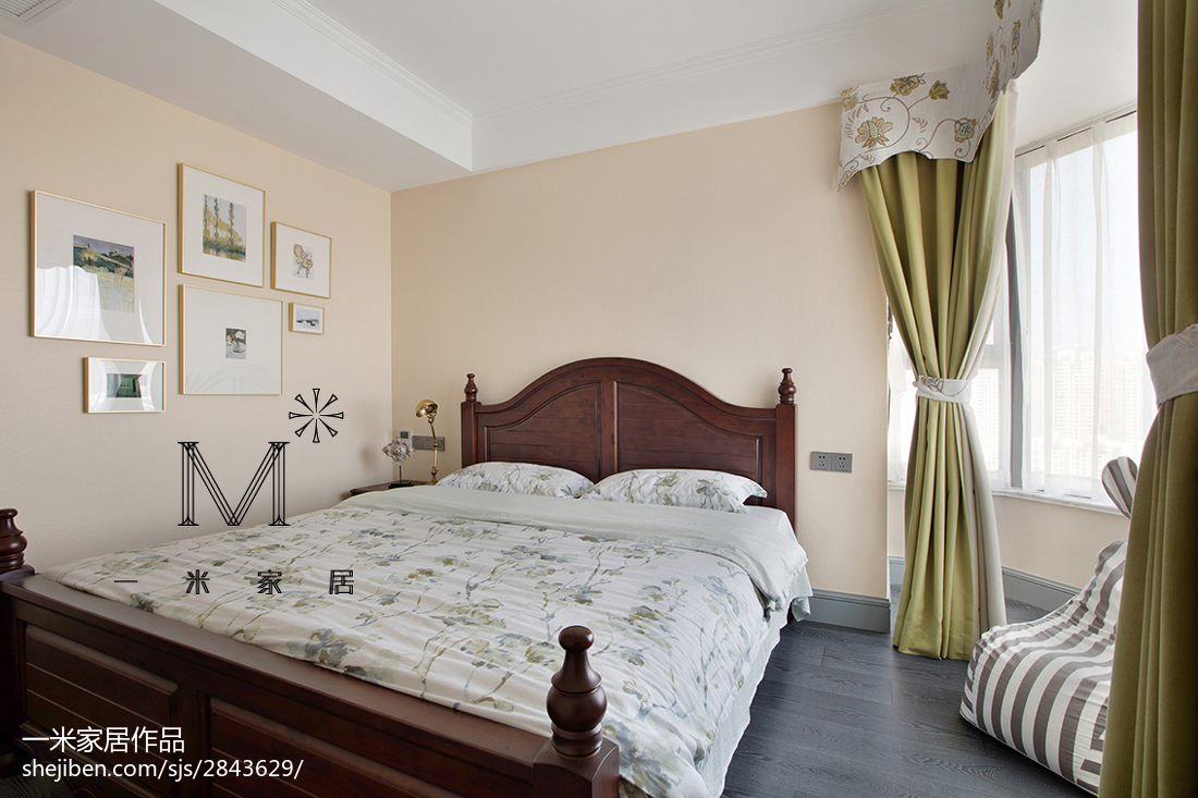 精选130平米四居卧室美式装修设计效果图