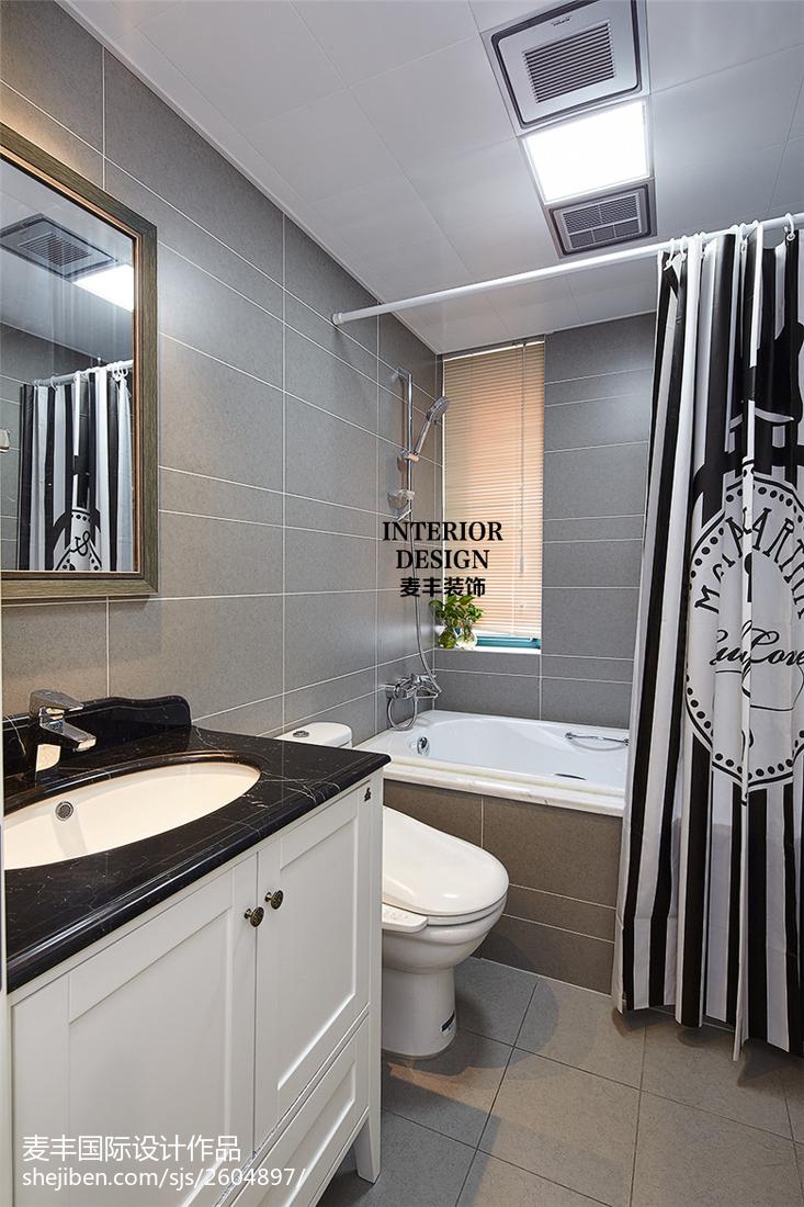 精致美式三居室卫浴效果图