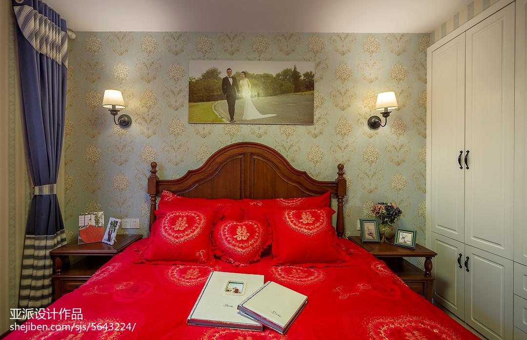 热门面积91平美式三居卧室装修欣赏图片大全