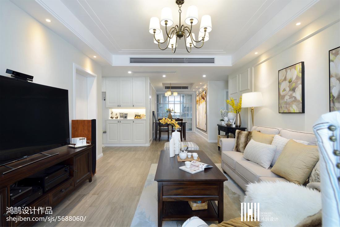 精美面积109平美式三居客厅实景图片
