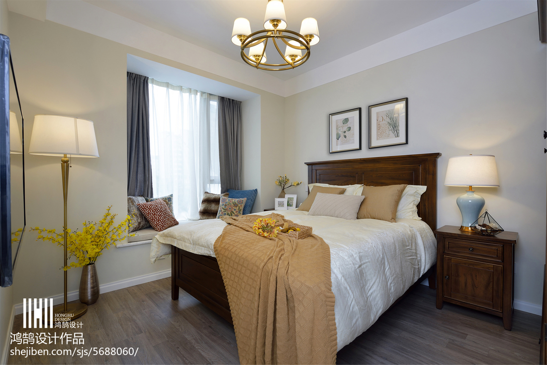 精美三居卧室美式装饰图片