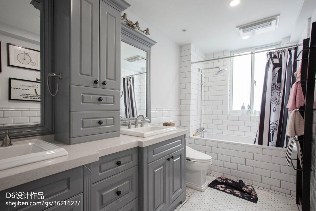 美式风格灰色系卫浴效果图