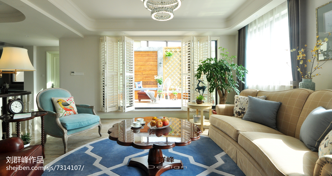精选面积123平复式客厅美式装修效果图片欣赏