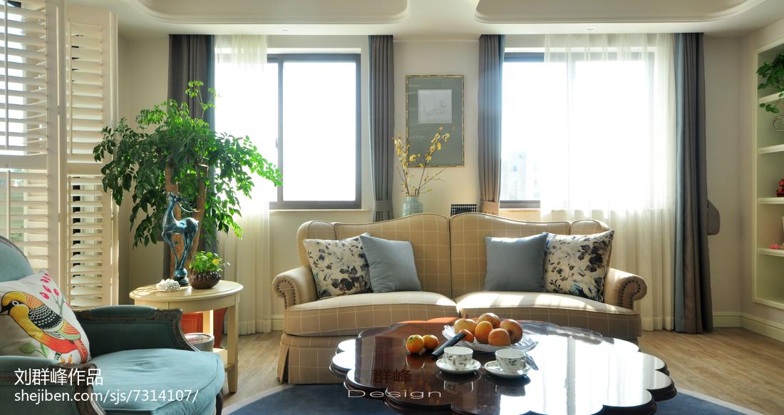 热门141平米美式复式客厅装饰图片