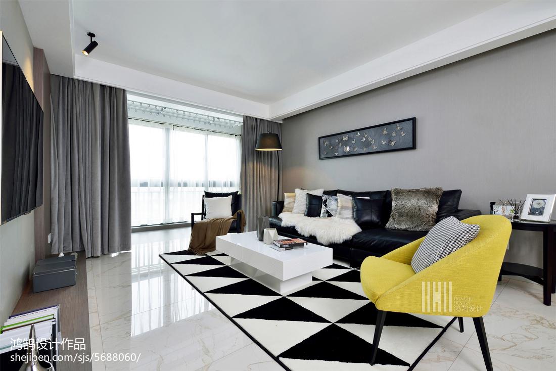 2018精選大小106平簡約三居客廳裝修設計效果圖片欣賞