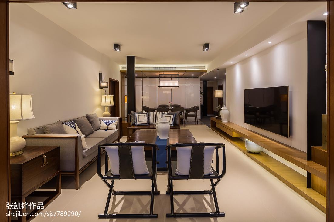 精美96平米三居客厅中式装修效果图片大全