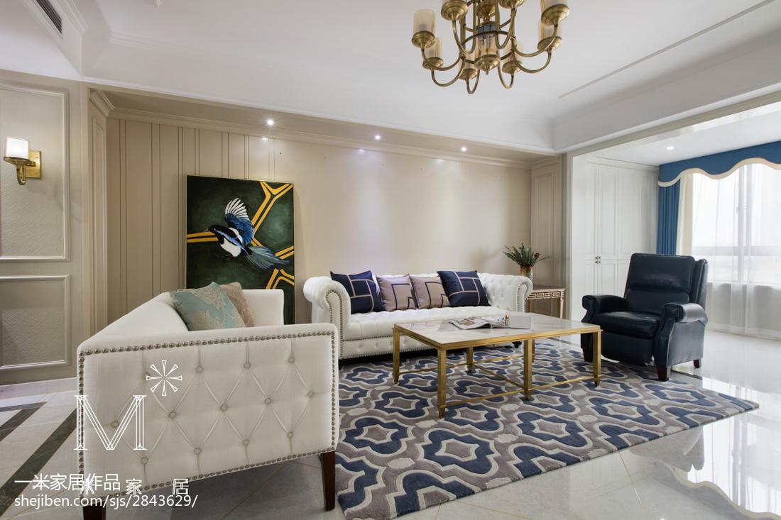 2018面积105平美式三居客厅欣赏图片