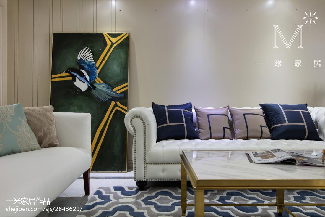 热门大小98平美式三居客厅欣赏图片大全