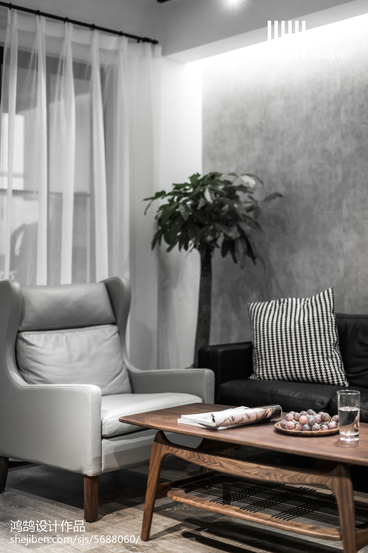 热门面积78平北欧二居客厅装修实景图片