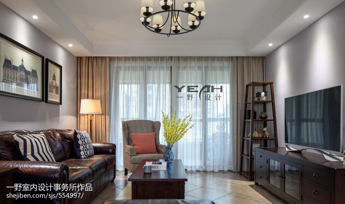 精选92平米三居客厅美式装修实景图片