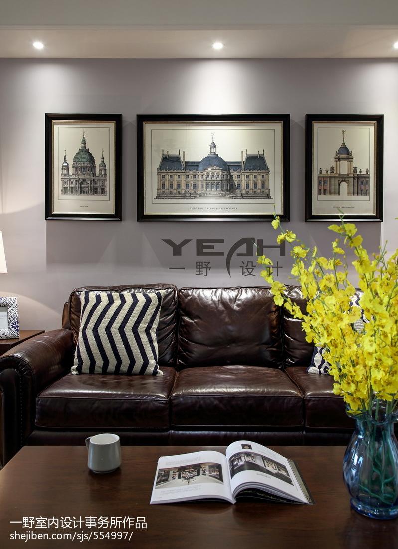 热门大小106平美式三居客厅装饰图片