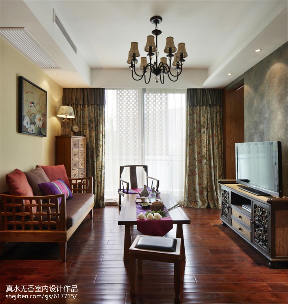 热门面积110平复式客厅东南亚装修图片大全