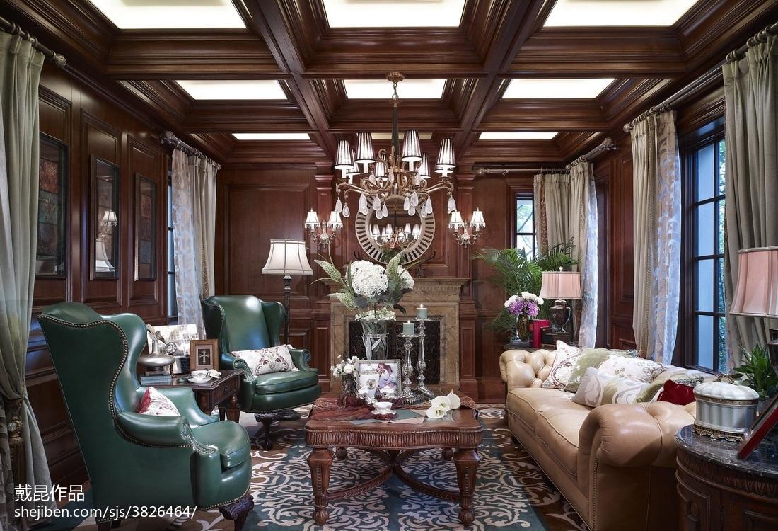 135平米欧式别墅客厅装修设计效果图片欣赏