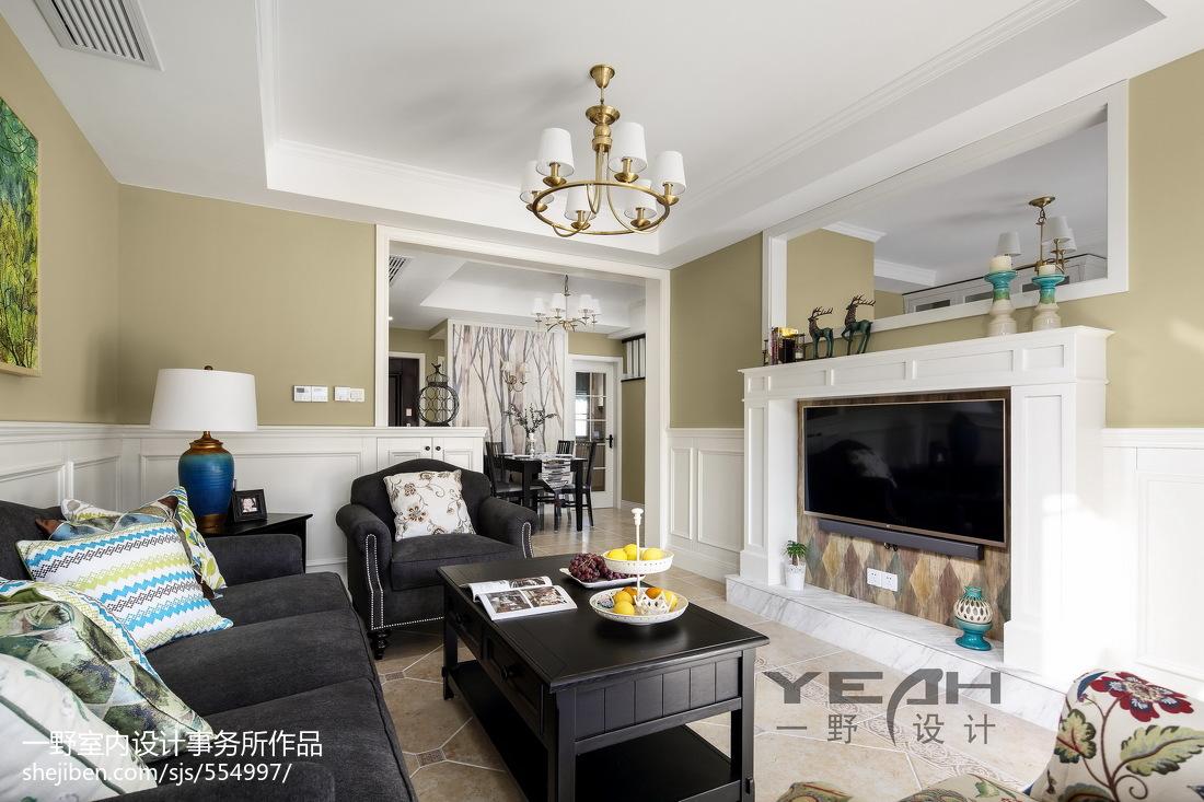 精选面积144平复式客厅美式欣赏图