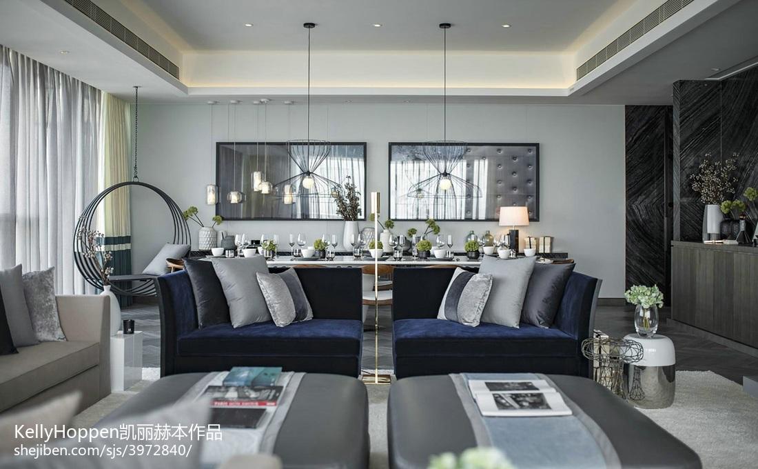 2018124平米现代别墅客厅装修效果图
