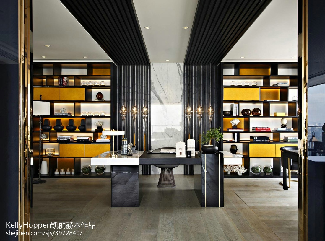 华丽329平现代别墅书房实拍图