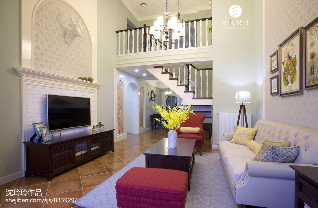 2018面积126平复式客厅美式装修效果图片欣赏