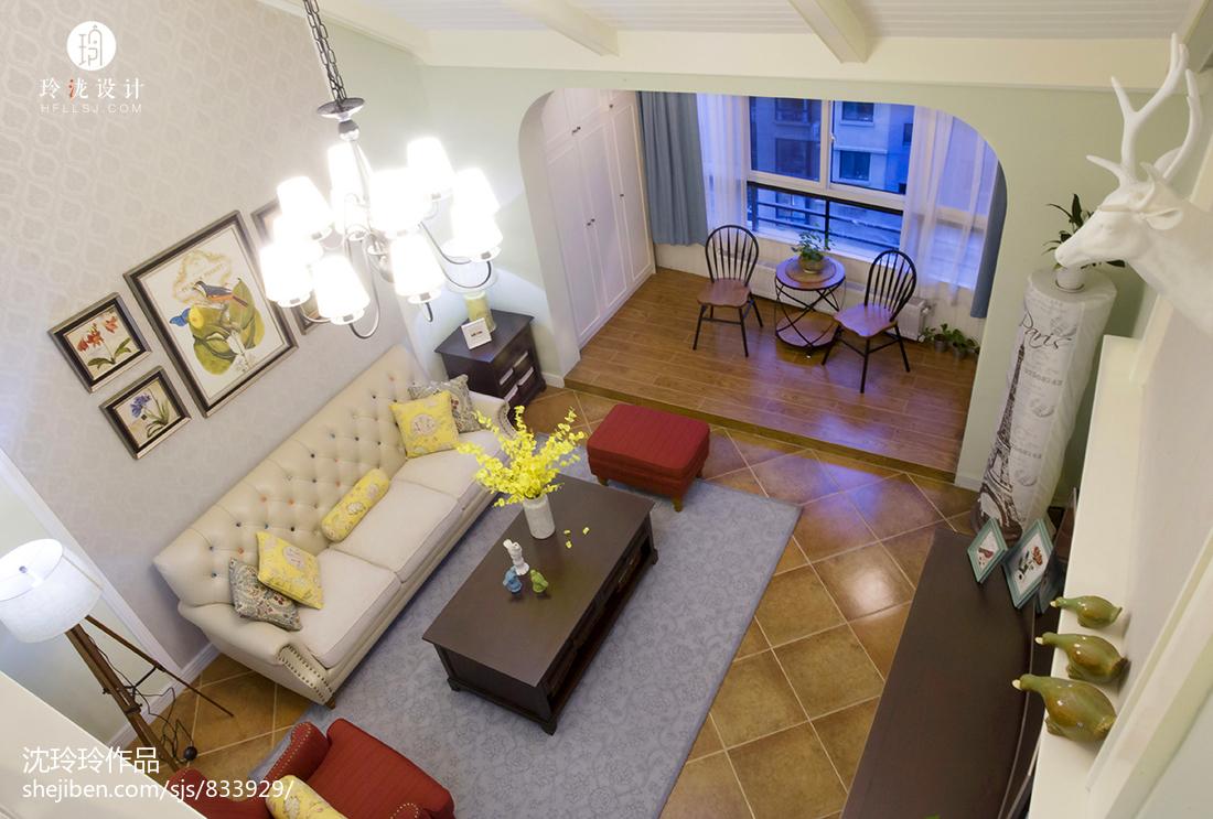 精美面积142平复式客厅美式实景图片欣赏