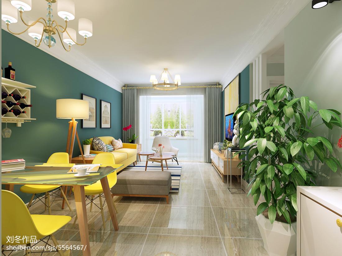 热门108平米三居客厅北欧效果图片